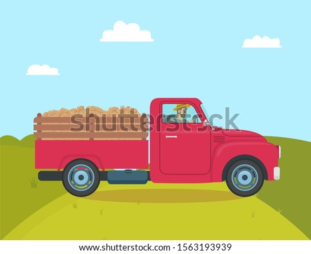 Car with trailer transporting harvested potatoes. Agriculture and vegetables harvesting, automobile with driving farmer. Harvester for veggies raster