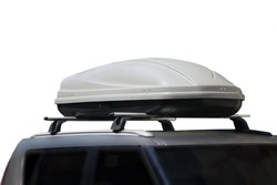 Car With Trunk Box Isolated On White Background. Car Roof With Luggage Box On Rooftop On The Rack System Isolated. Closeup Of Roadster Car Roof Box And Rack System On Rooftop.