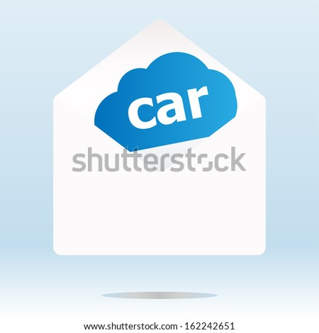 car word blue cloud on white mail envelope, raster
