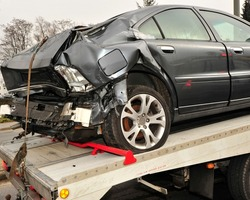 car wreck after car accident with total loss or write-off