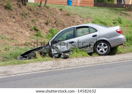 car wreck near to road