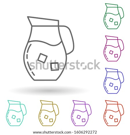 Carafe with cold drink dusk multi color icon. Simple thin line, outlineillustration of drinks & beverages icons for ui and ux, website or mobile application