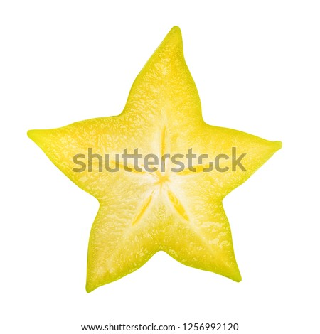 Carambola slice isolated, star apple or yellow starfruit on white background. Clipping path included. Сток-фото ©