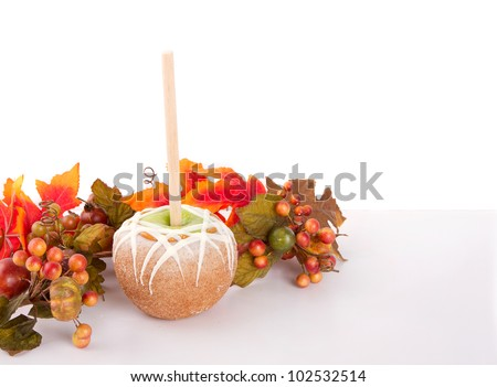 Caramel and chocolate covered apple on a stick on white background with autumn leaves