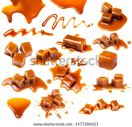 Caramel candies Isolated. Caramel pieces with  sauce on a white background, set. Collection of Sweet Butterscotch toffee #1477286021