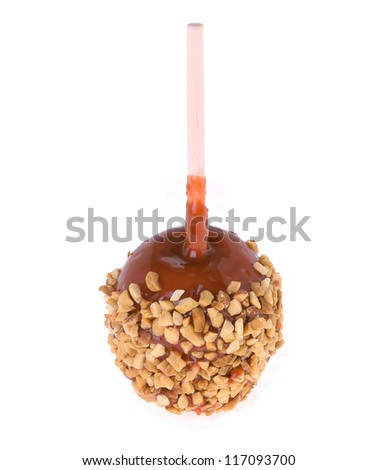 caramel candy apple isolated on white background