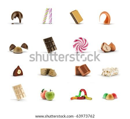 caramel,  chocolate, halve, nougat, nut, apple,  jelly, marmalade, pralines, wafers, toffees, truffle - stock photo