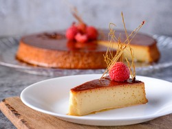 Caramel custard Custard pudding Flan crema volteada dessert - Creme caramel is a custard dessert garnished with a coating of caramel sauce