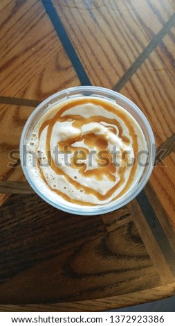 Caramel drizzle on iced coffee
