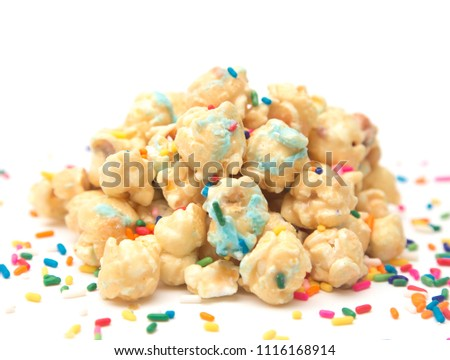 Caramel Popcorn with Blue Drizzle and Sprinkles