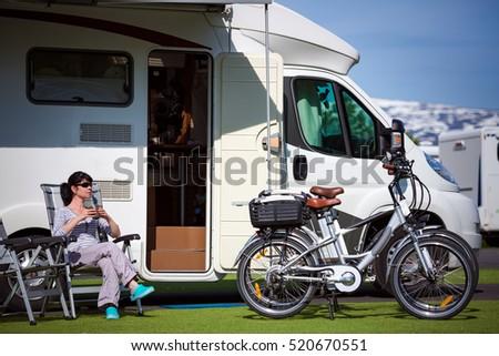 Caravan car Vacation. Family vacation travel, holiday trip in motorhome