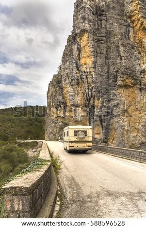 caravan in canyon of zagoria in ...
