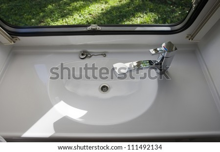 Caravan Interior Travel Trailer Mobile Home Bathroom Sink Stock Photo 111492134 Shutterstock