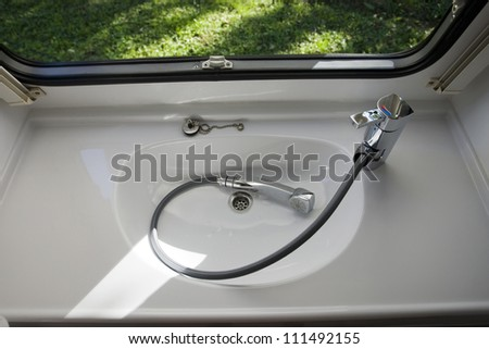 caravan interior travel trailer mobile home bathroom sink shower
