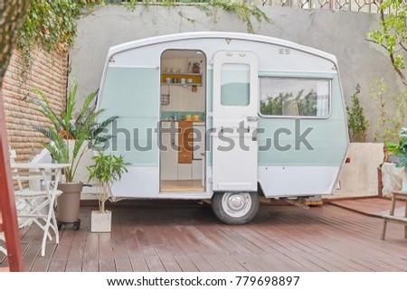 Caravan trailer camping (vintage and retro style caravan) #779698897