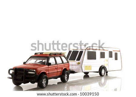 caravan with automobile for vacation traveling