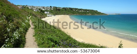 Carbis Bay beach panorama, Cornwall UK.