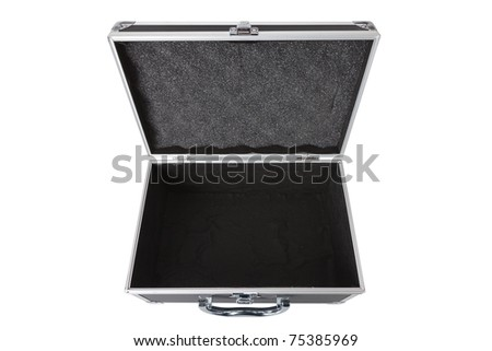 Carbon and aluminum safety case isolated over white background