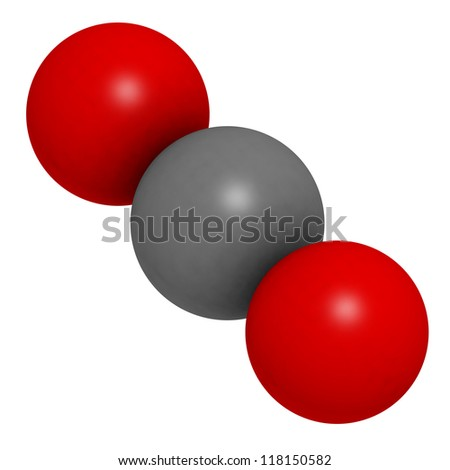 Carbon dioxide (CO2) greenhouse gas molecule, chemical structure