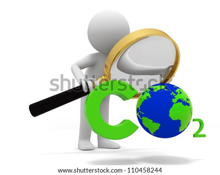 Carbon dioxide /earth/A people observe a Carbon dioxide   symbol with a Magnifying glass