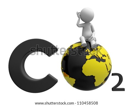 Carbon dioxide /earth/A people standing on a Carbon dioxide   symbol