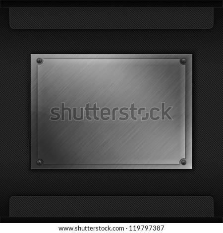 Carbon fiber background with metal plate. New technology texture.
