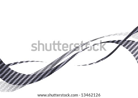 Carbon fiber flowing curves layout with plenty of copy space. - stock photo