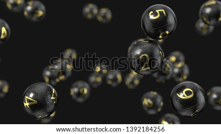 Carbon fiber lottery balls with golden numbers. suitable for lottery, bingo and other luck game themes. 3d illustration