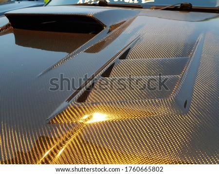 Carbon fibre bonnet, vent and scoop. Stock photo ©
