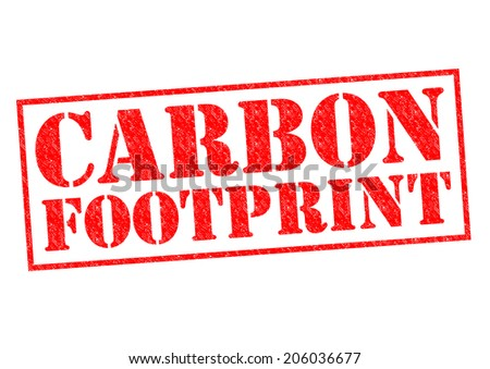 CARBON FOOTPRINT red Rubber Stamp over a white background.