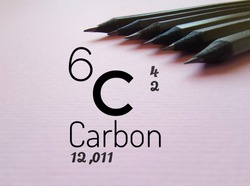 Carbon is a chemical element of the periodic table. Symbol for the chemical element carbon with atomic data (atomic number, mass and electron configuration) and graphite pencils in the background.