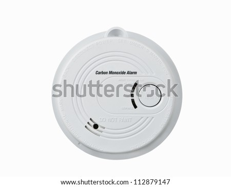 Carbon monoxide alarm isolated over white