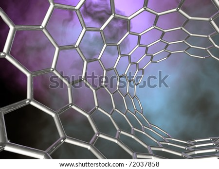 carbon nanotube structure on dark cloudy background