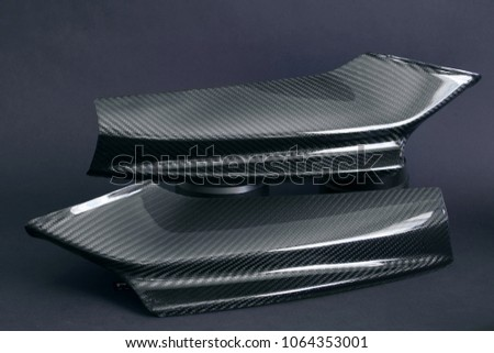 Carbon tuning car part. Carbon fangs of front lip
