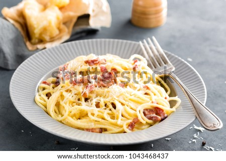 Carbonara pasta, spaghetti with pancetta, egg, hard parmesan cheese and cream sauce. Traditional italian cuisine. Pasta alla carbonara