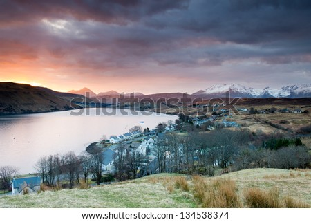 Carbost, Loch Harport and the Black Cuillins range at sunrise ,Scotland