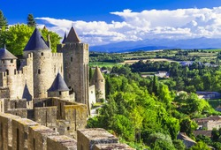 Carcassonne - biggest medieval castle and walled town in Europe. France travel and historic landmarks