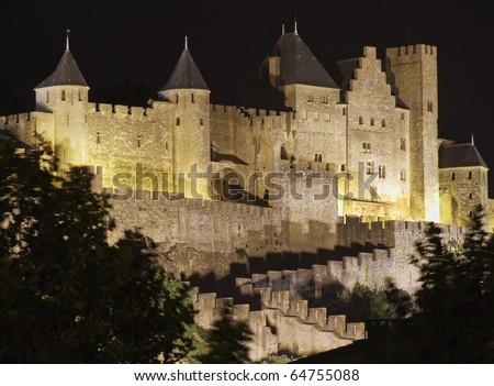 Carcassonne Castle illuminated at night