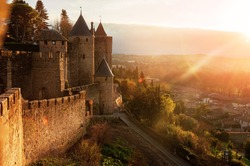 Carcassonne. France . Beautiful sunset landscape in the famous city in France.