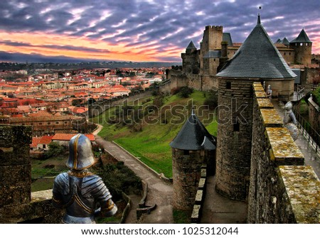Carcassonne is a fortified French town in the Aude department, of which it is the prefecture, in the former province of Languedoc.Pictures of knights-toys are embedded into the photo.