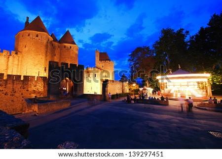 carcassonne medieval castle france - stock photo