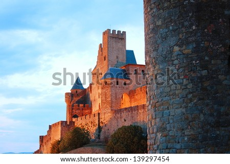 carcassonne medieval castle france - stock photo