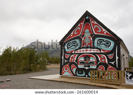 CARCROSS, YUKON - AUGUST 28, 2012: The Caribou Crossing Coffee store in Carcross, Yukon. This establishment is painted in  Native Peoples artwork, and serves fresh coffee and hot dishes for patrons.