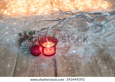 Card Concept with fir and Christmas balls on wooden background #343449392