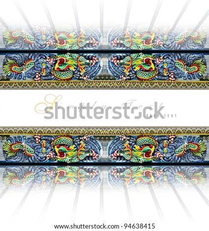 Card design Chinese style detail of Ceramic dragons  on white  space various colors closeup for simply text