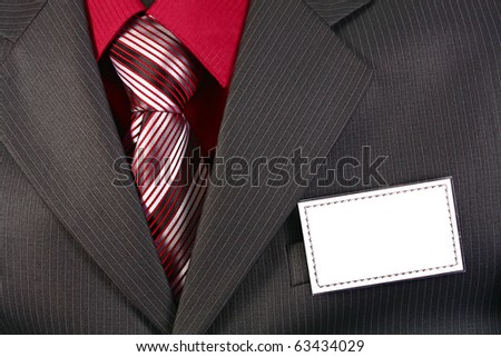 card empty ID badge on man suit
