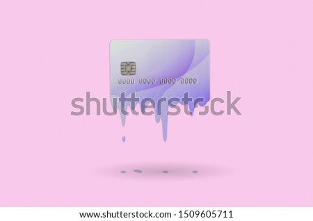 Card expires soon concept shows liquid credit card that is dissolving down by melting. Surreal style image. Pastel pink background color