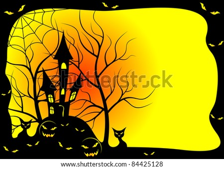 Card for a holiday Halloween . The card is executed in black and yellow color.EPS version is available as ID 83327050.
