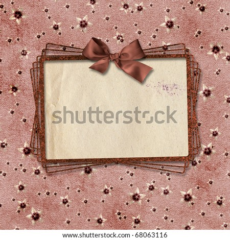 Card for congratulation on abstract vintage background.