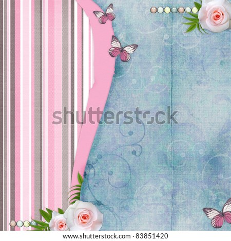 Card for congratulation or invitation with pink roses, butterfly, old paper
